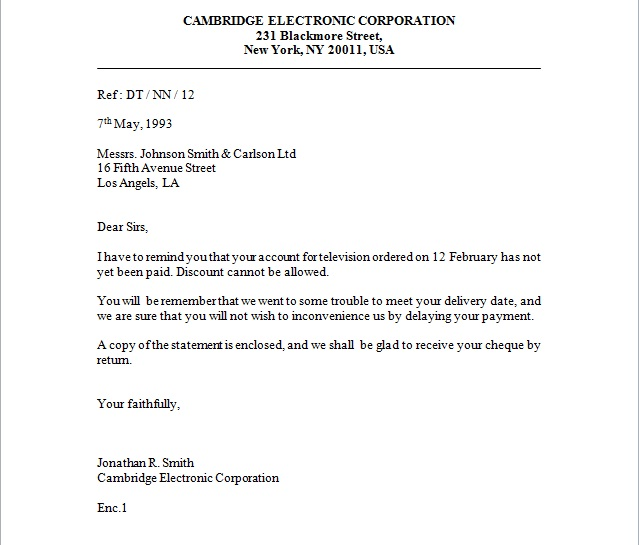Full Block Style Business Letter Example